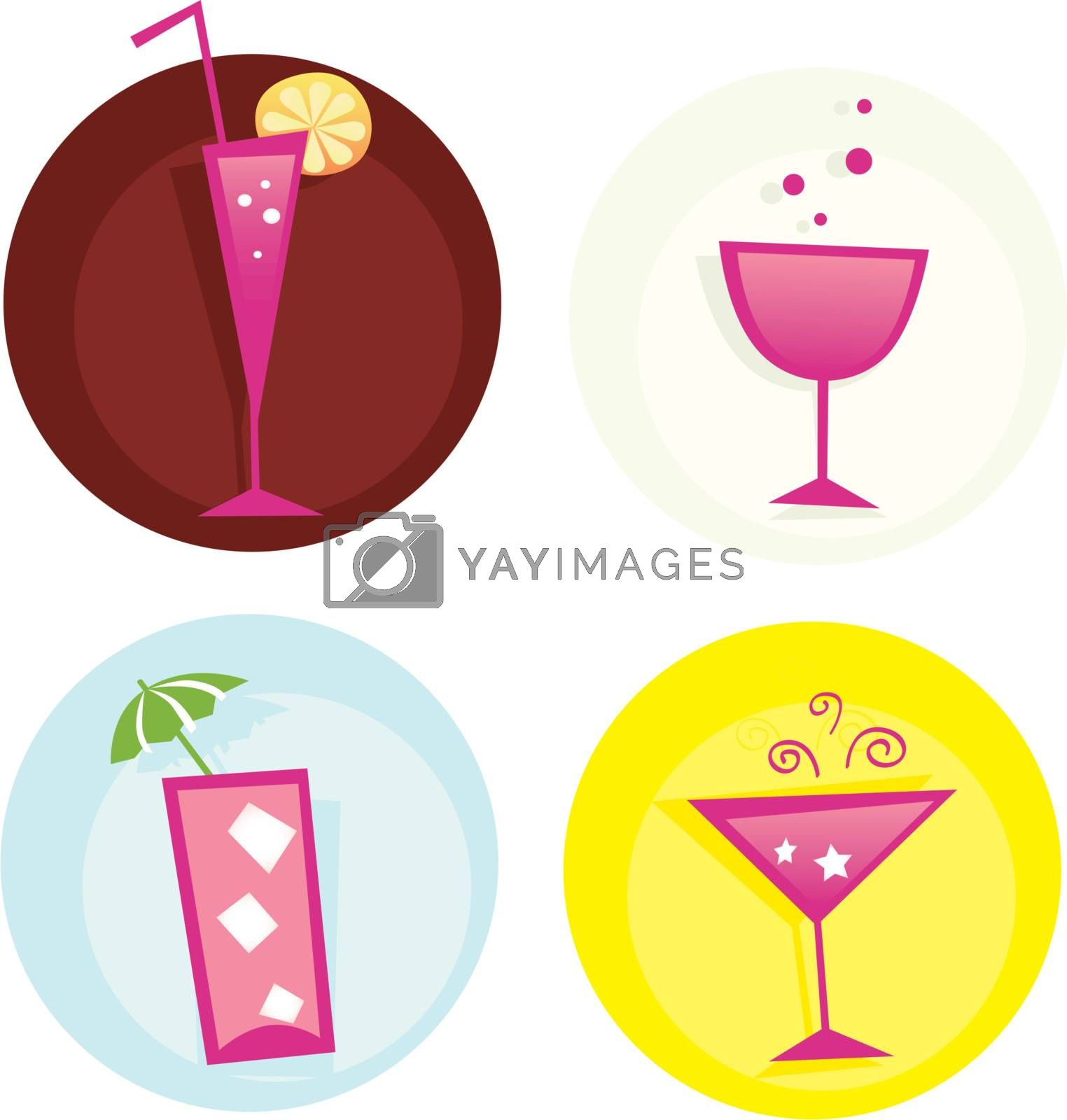 Mix of summer hot drinks. VECTOR. Hot summer mixed drinks. Vector icons, easy to resize.