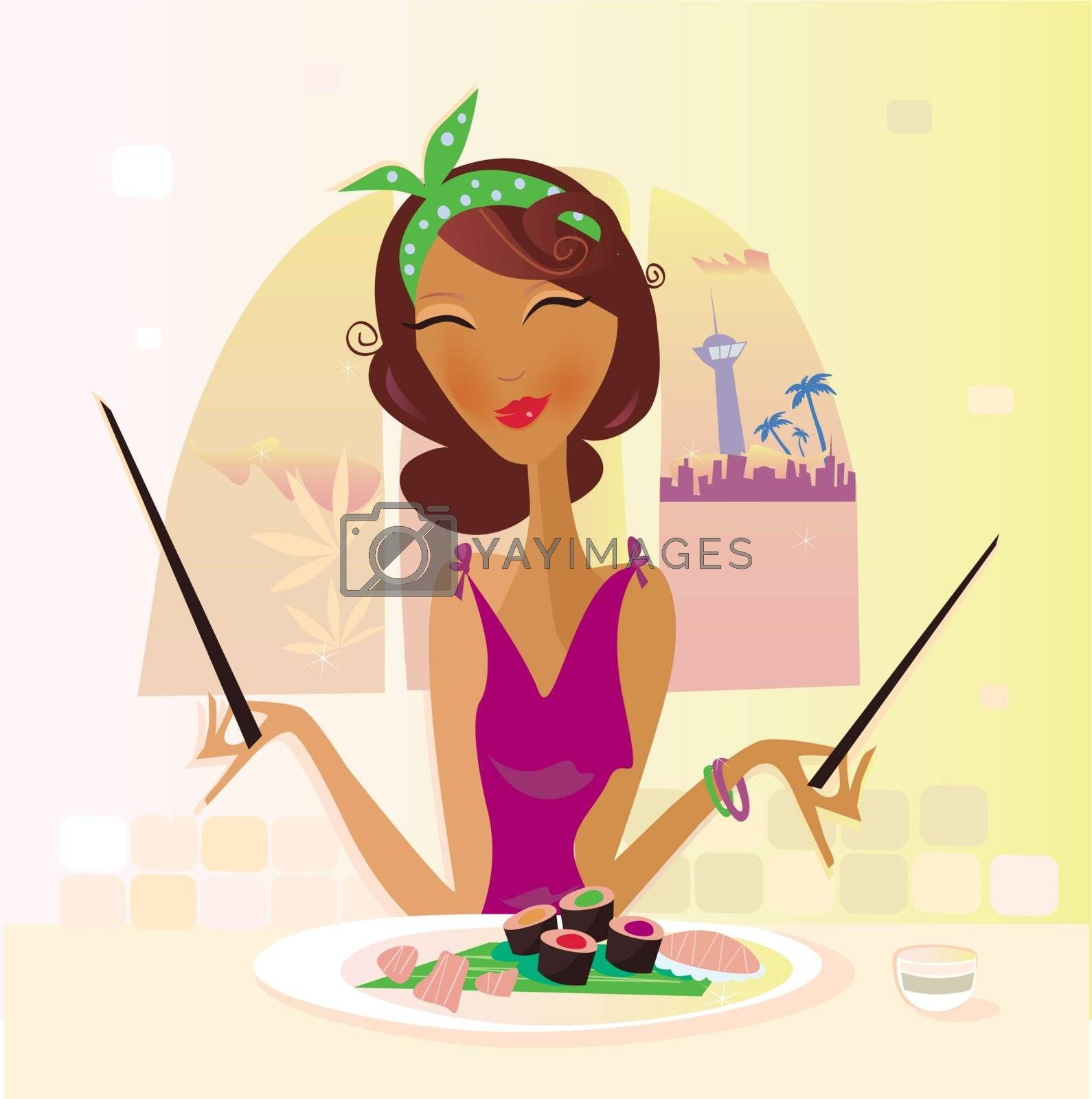 Girl has sushi in attractive japanese restaurant. Vector Illustration.