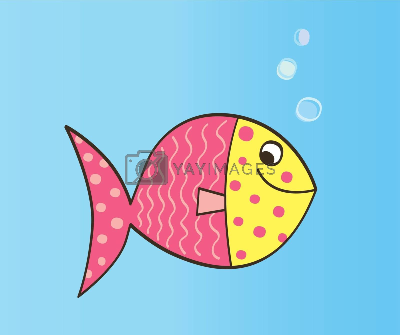 Cute colorful fish. Vector Illustration.
