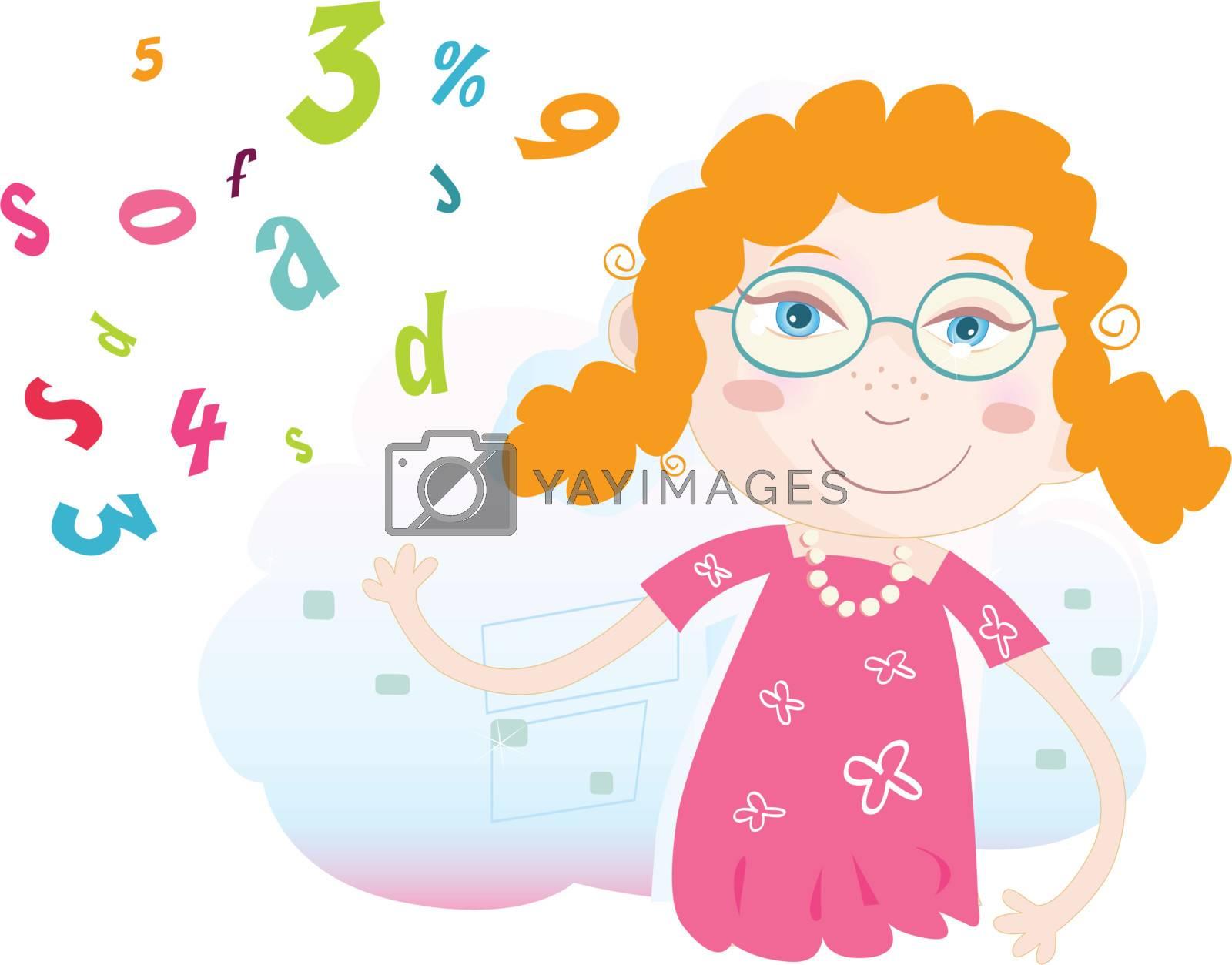 Language lesson in school. Art vector Illustration. See similar pictures in my portfolio!