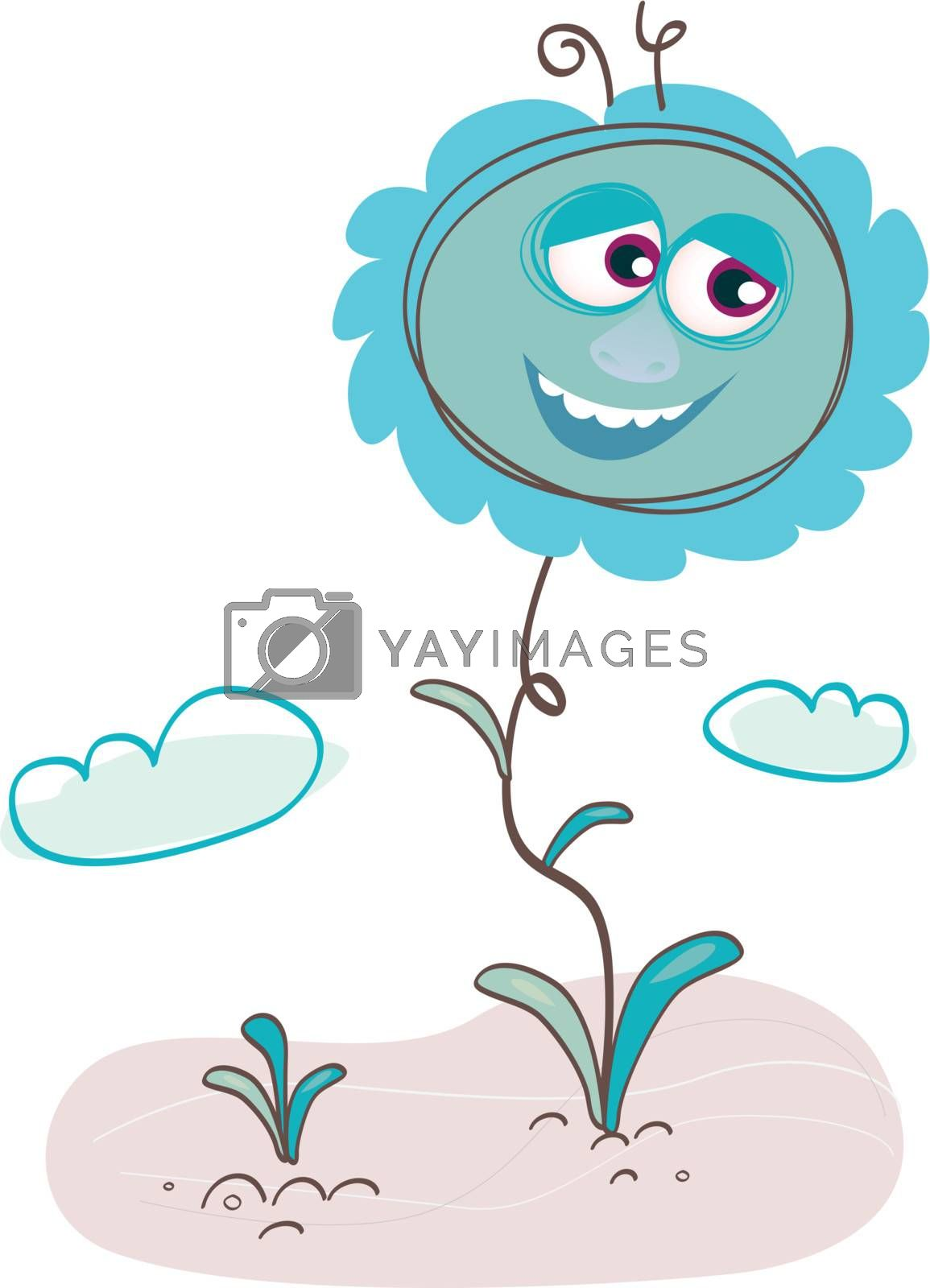 Sky is blue, Hortius the flower is blue, everything is BLUE. Art Vector Illustration.