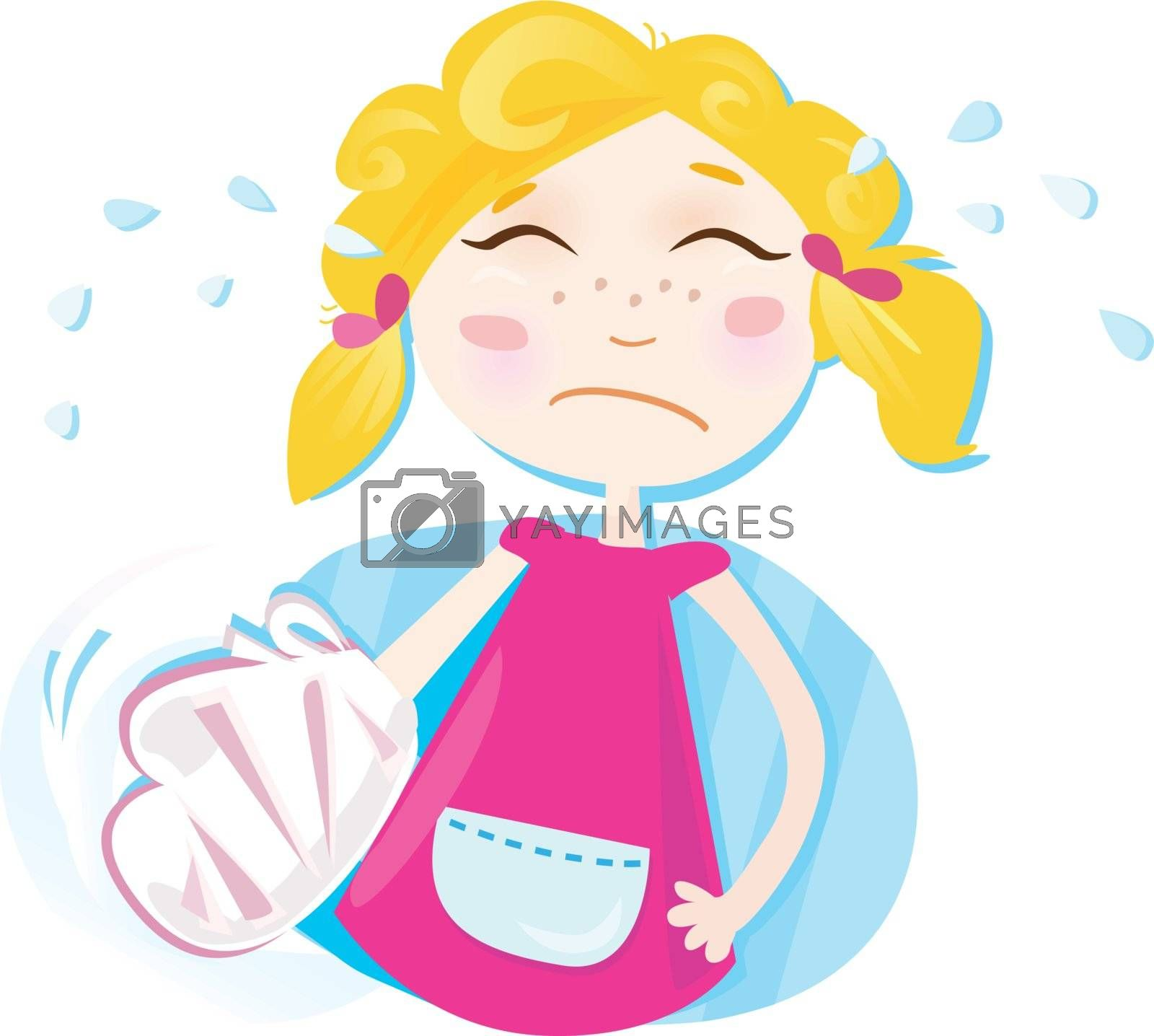 Girl with bandage. Vector Illustration.