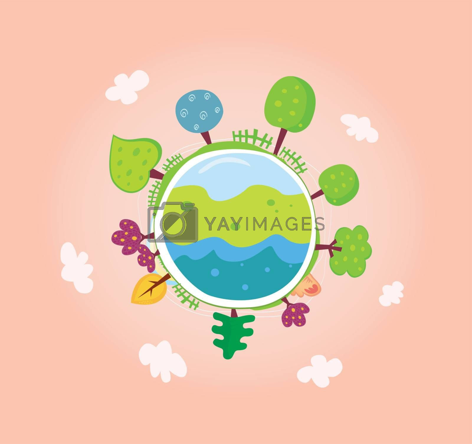 We are going to rescue our planet! More trees everywhere. Green globe, VECTOR.