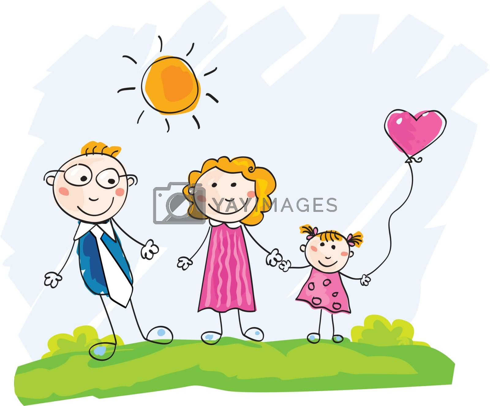 Mother, father and child on green meadow. Vector Illustration.