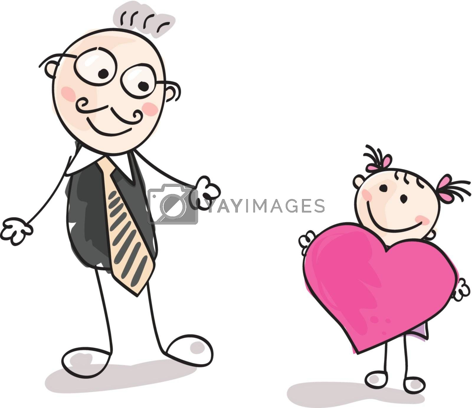 Small girl give big heart to her father. Vector Illustration.