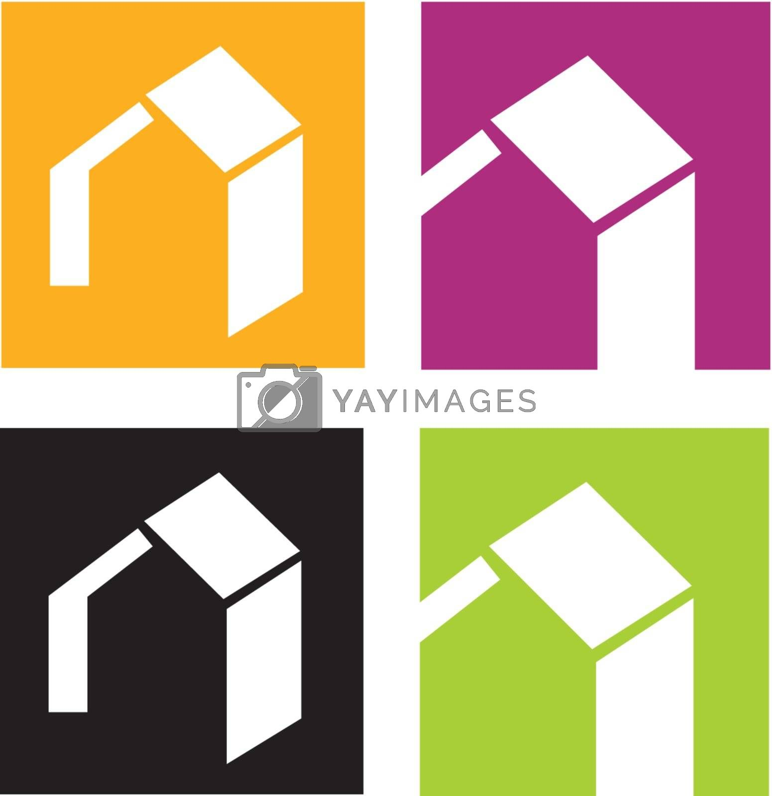 Vector icons of stylised houses. Vector Illustration.
