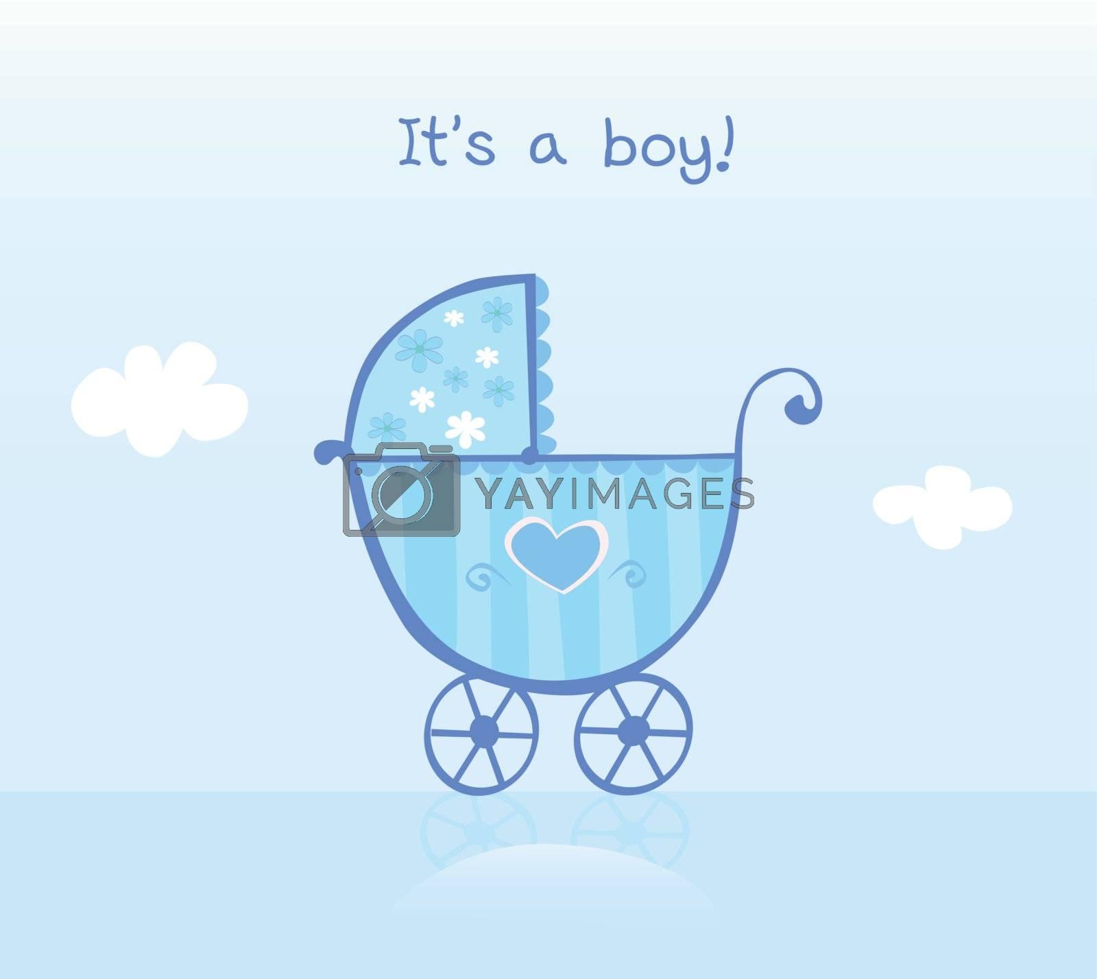 It's a boy! Vector cartoon Illustration of pram.