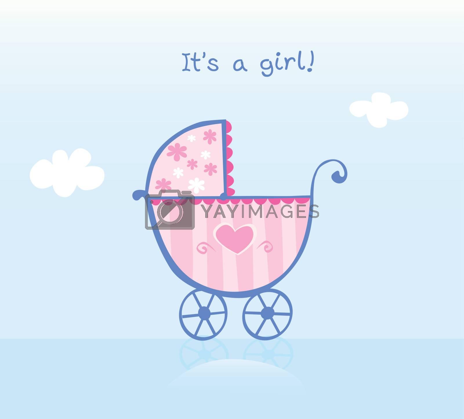 It's girl! Vector cartoon Illustration of pram.