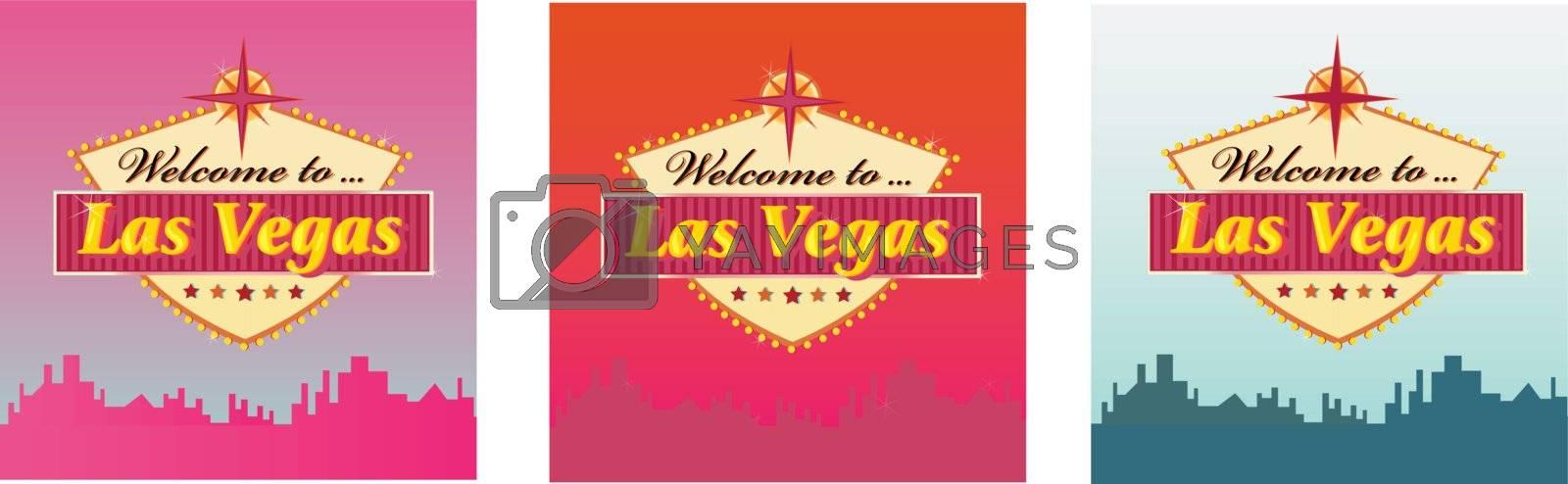 Las Vegas Welcome Sign in 3 color variants. Vector Illustration.