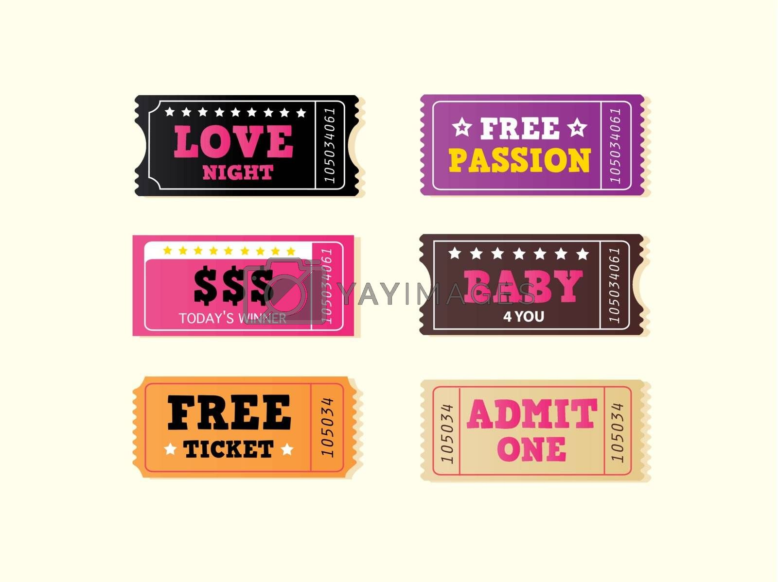 Join crazy night party with collection of stylish retro tickets. Vector Illustration.