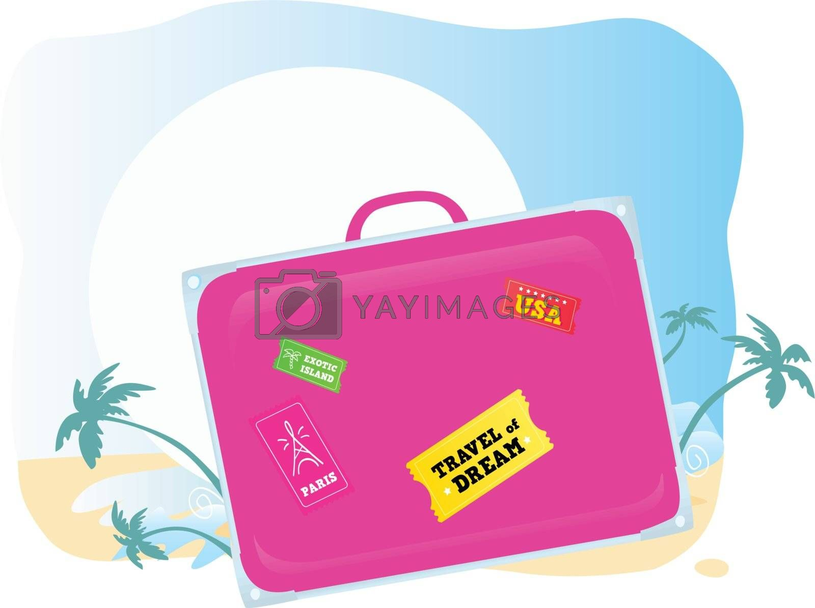 Going to exotic vacation! Vector suitcase – you should easy to change color and size.