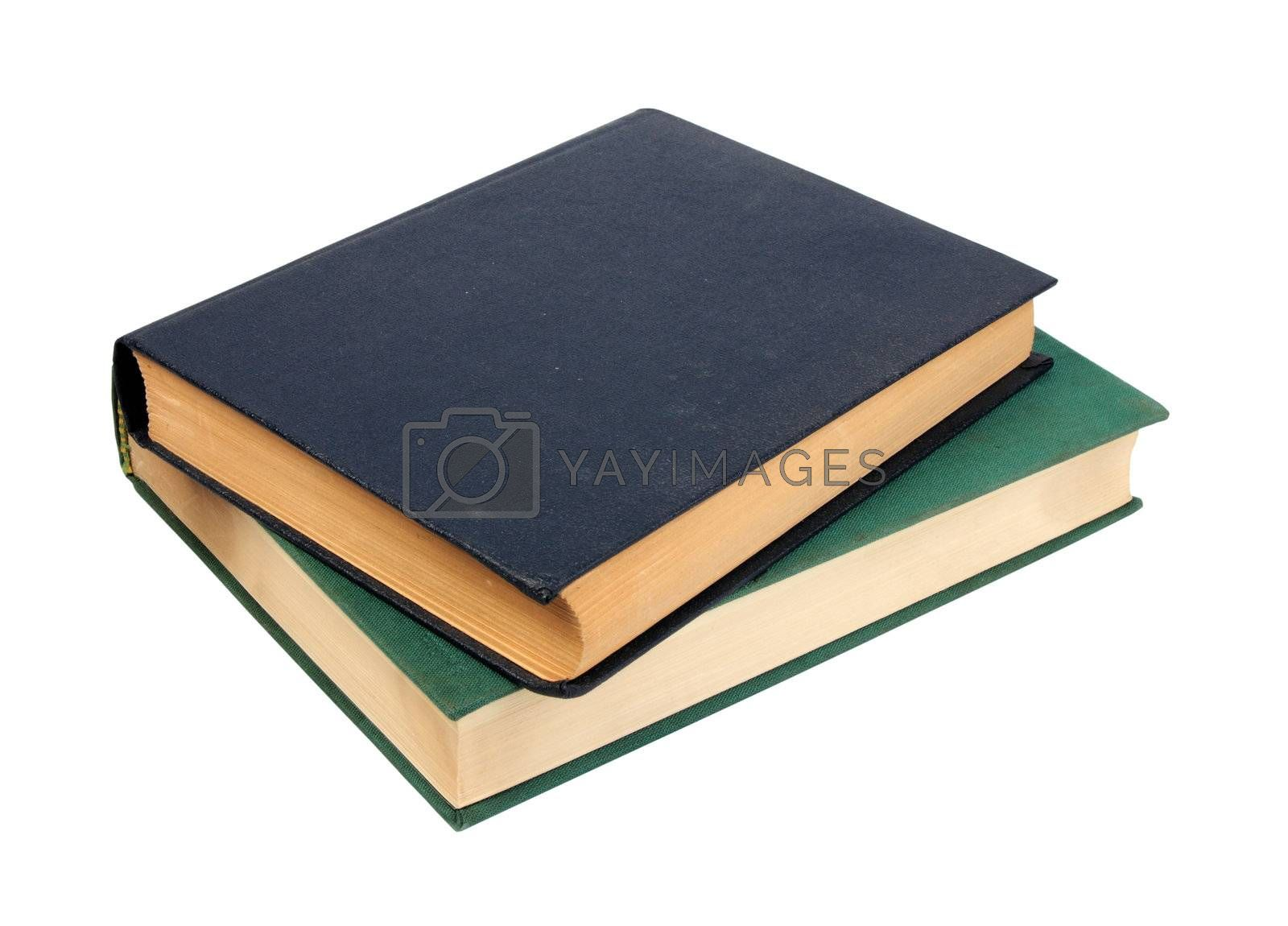 Green and dark blue two old books. Close-up. Isolated on white background.