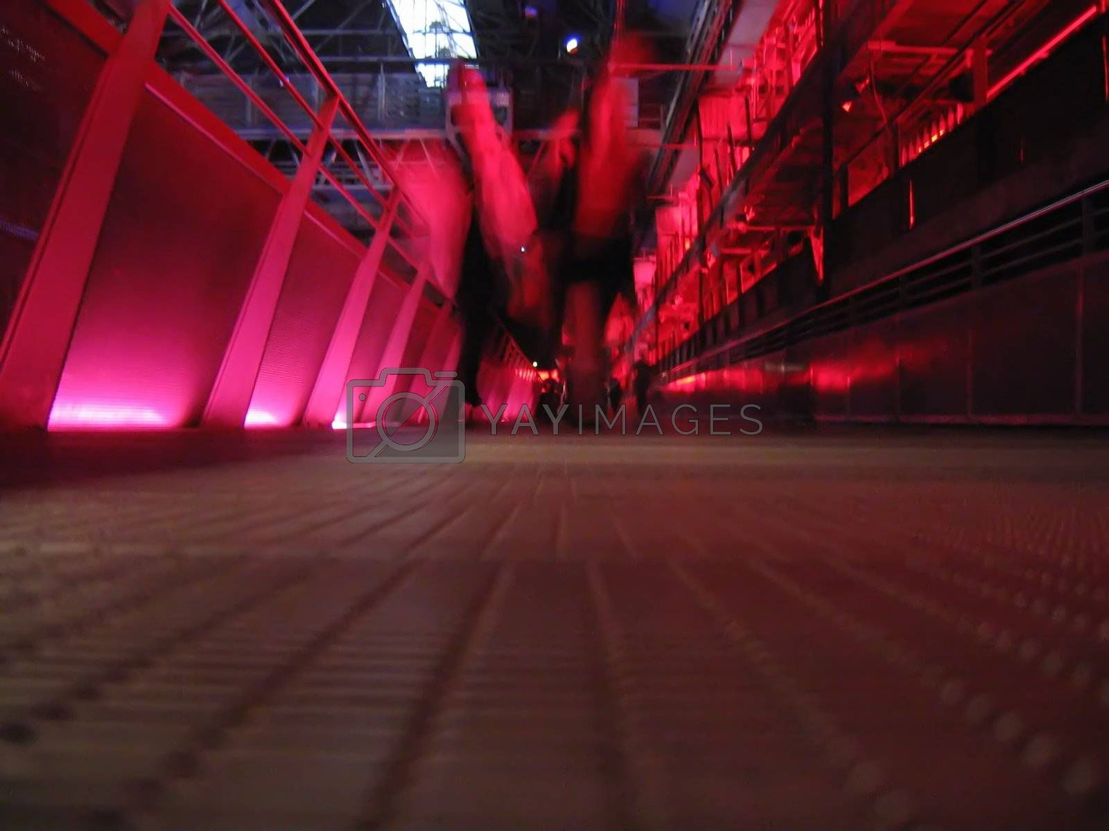 Red Walkway in Big Factory