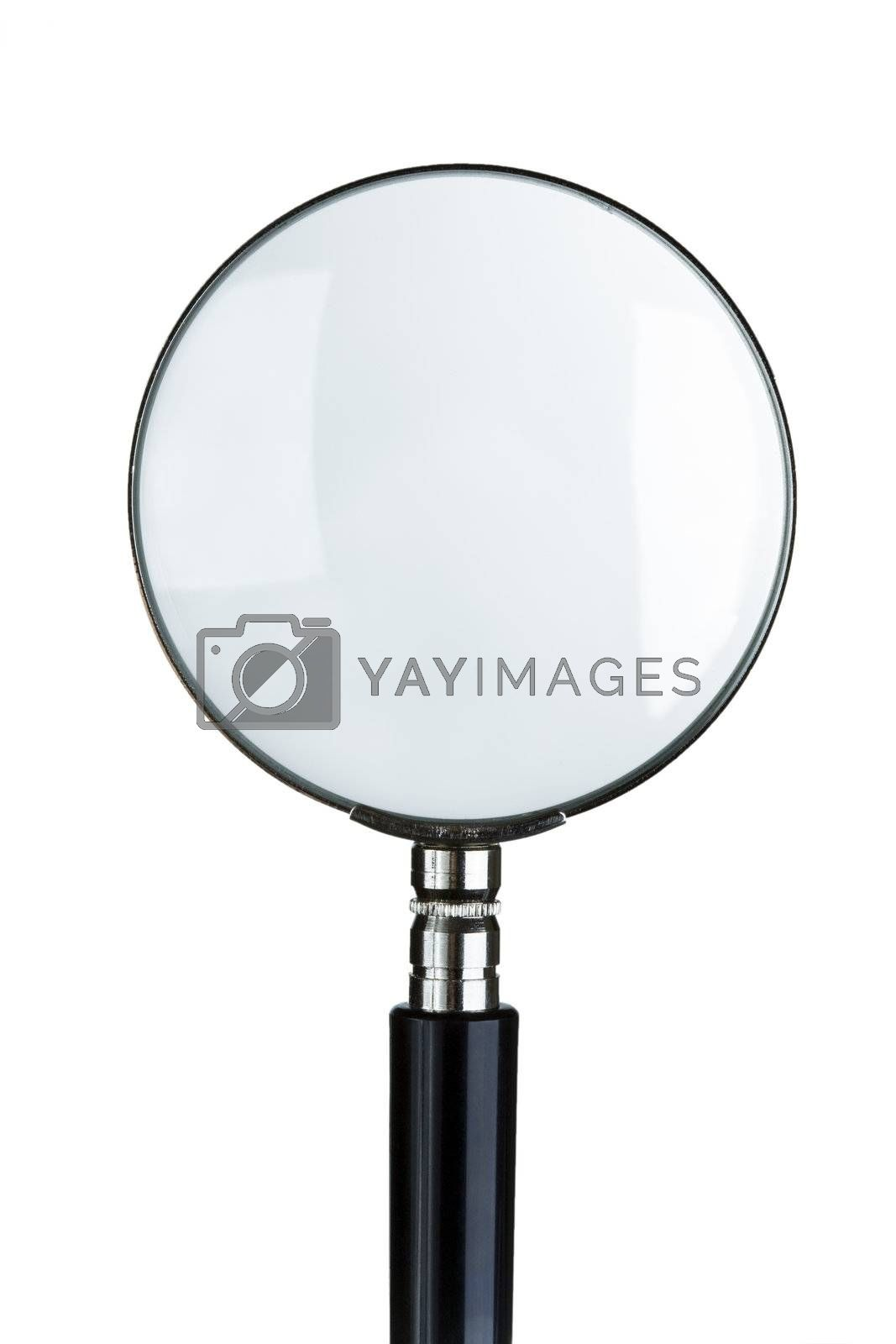 close-up of magnifying glass isolated on white