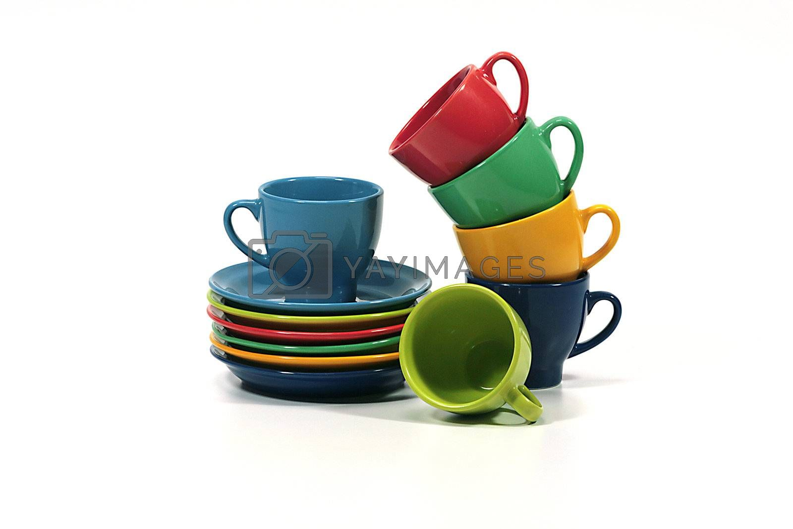 Color tea cups - photos for designers on a white background.