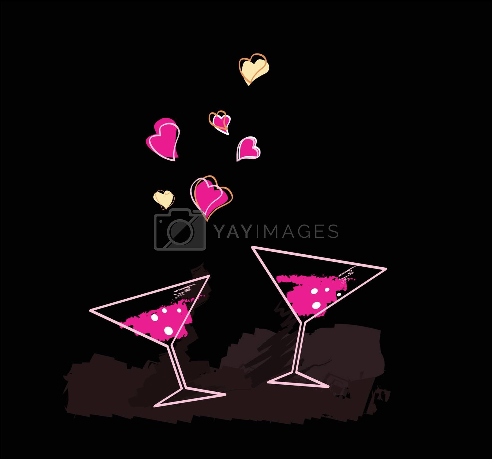Romantic evening. Art Illustration of Wine glasses with hearts.