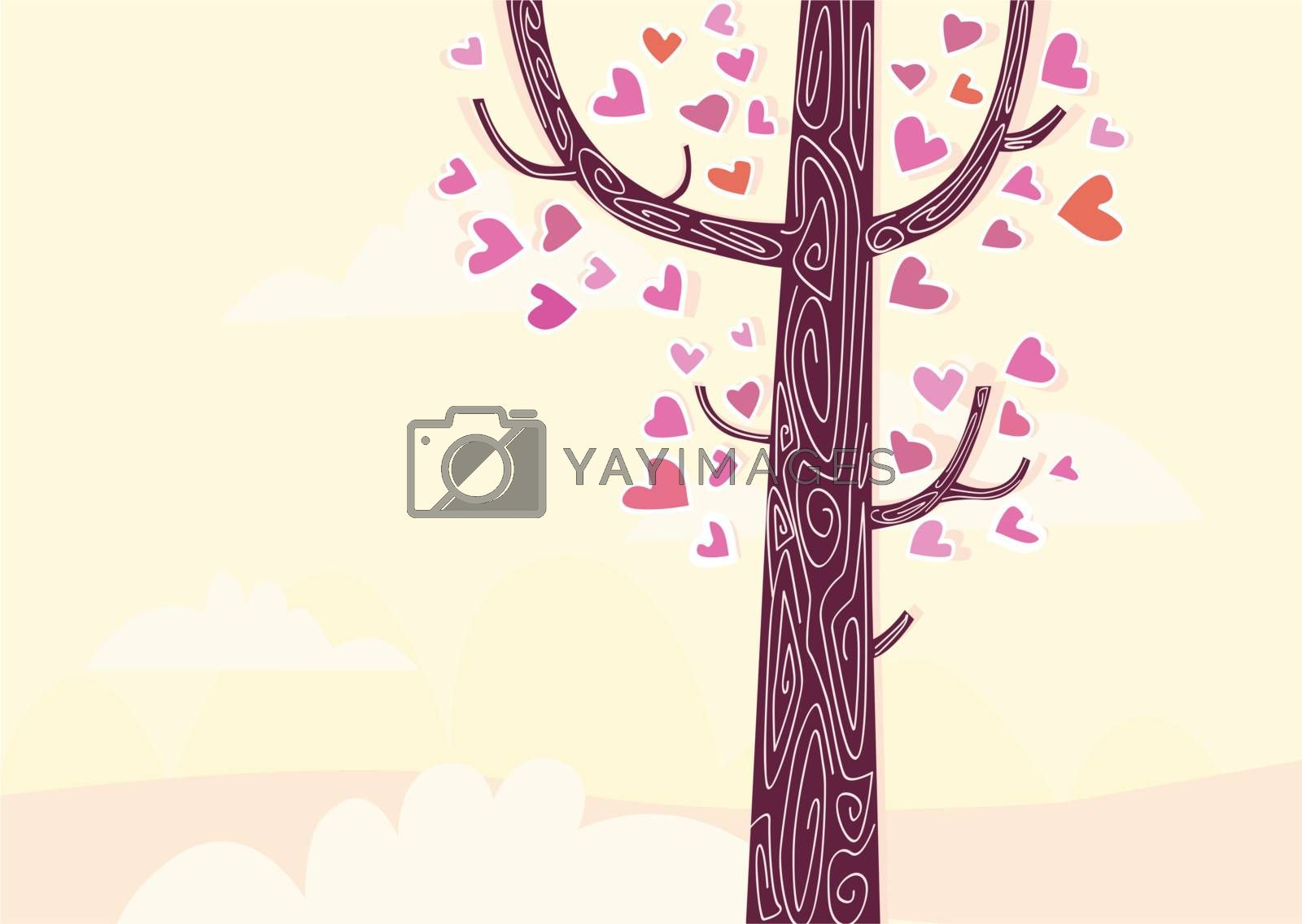 Some of trees aren't common trees. Some of them are speaking stories, like THIS one. Art vector Illustration.