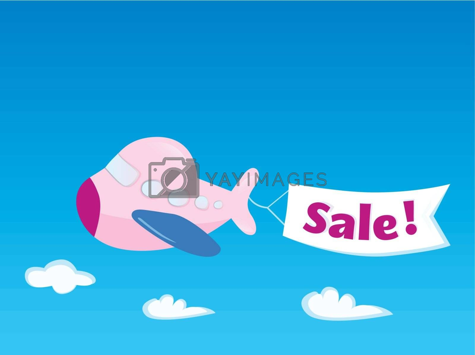 Flying Airplane with promotional banner. Vector Illustration.