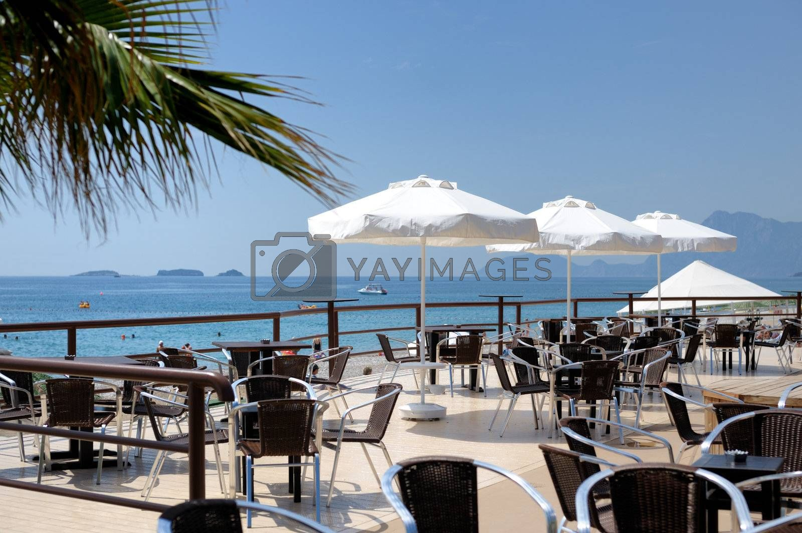 Very beautiful summer cafe veranda with a view to a sea