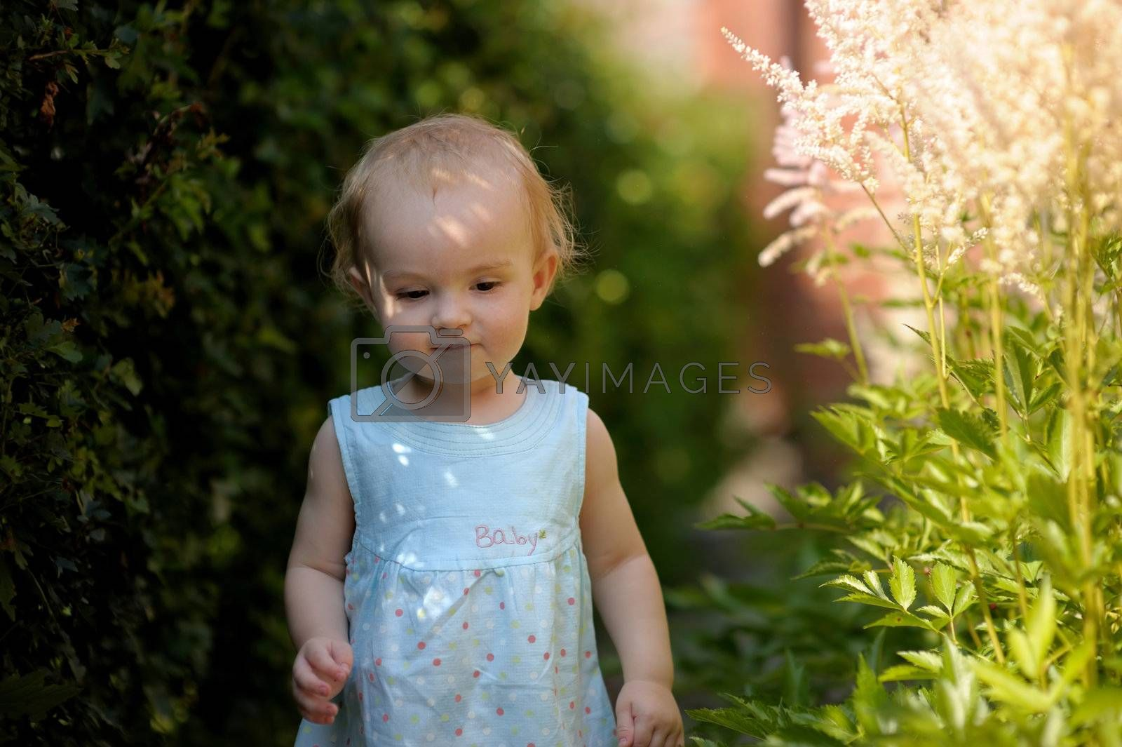 Little baby wearing nice blue dress in an overgrown grass looking thoughtful