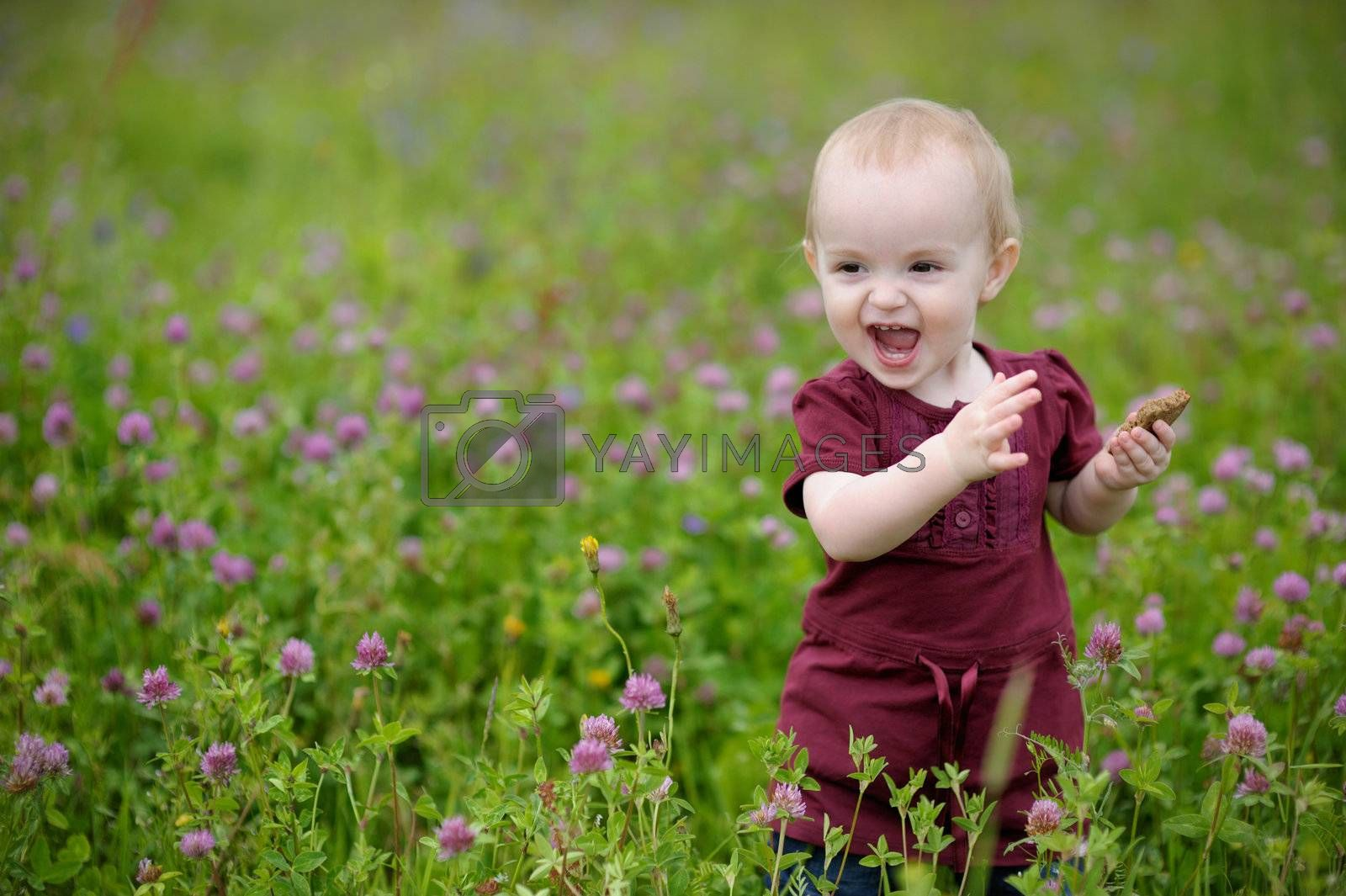Happy little baby girl in a meadow eating cookie