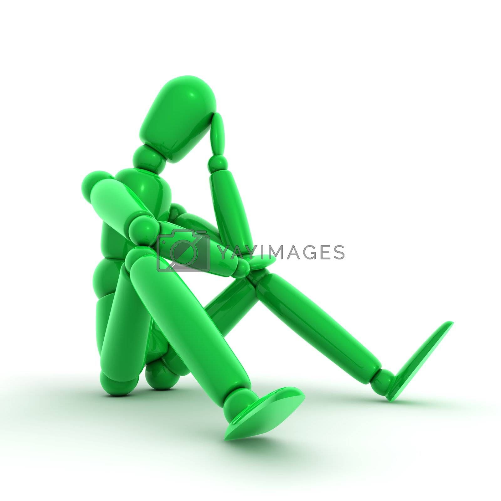 shiny green lay figure sitting on a white ground thinking