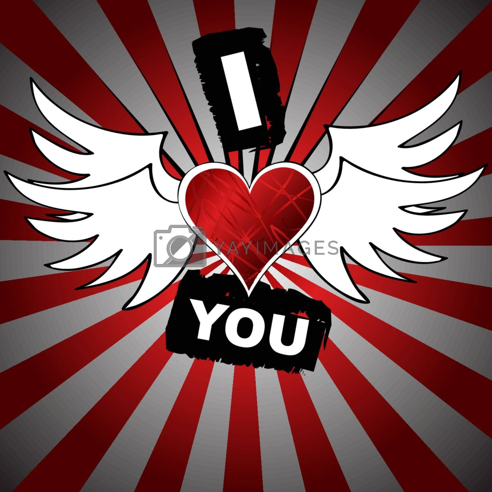 Grunge vector Illustration of heart with wings that says I love you