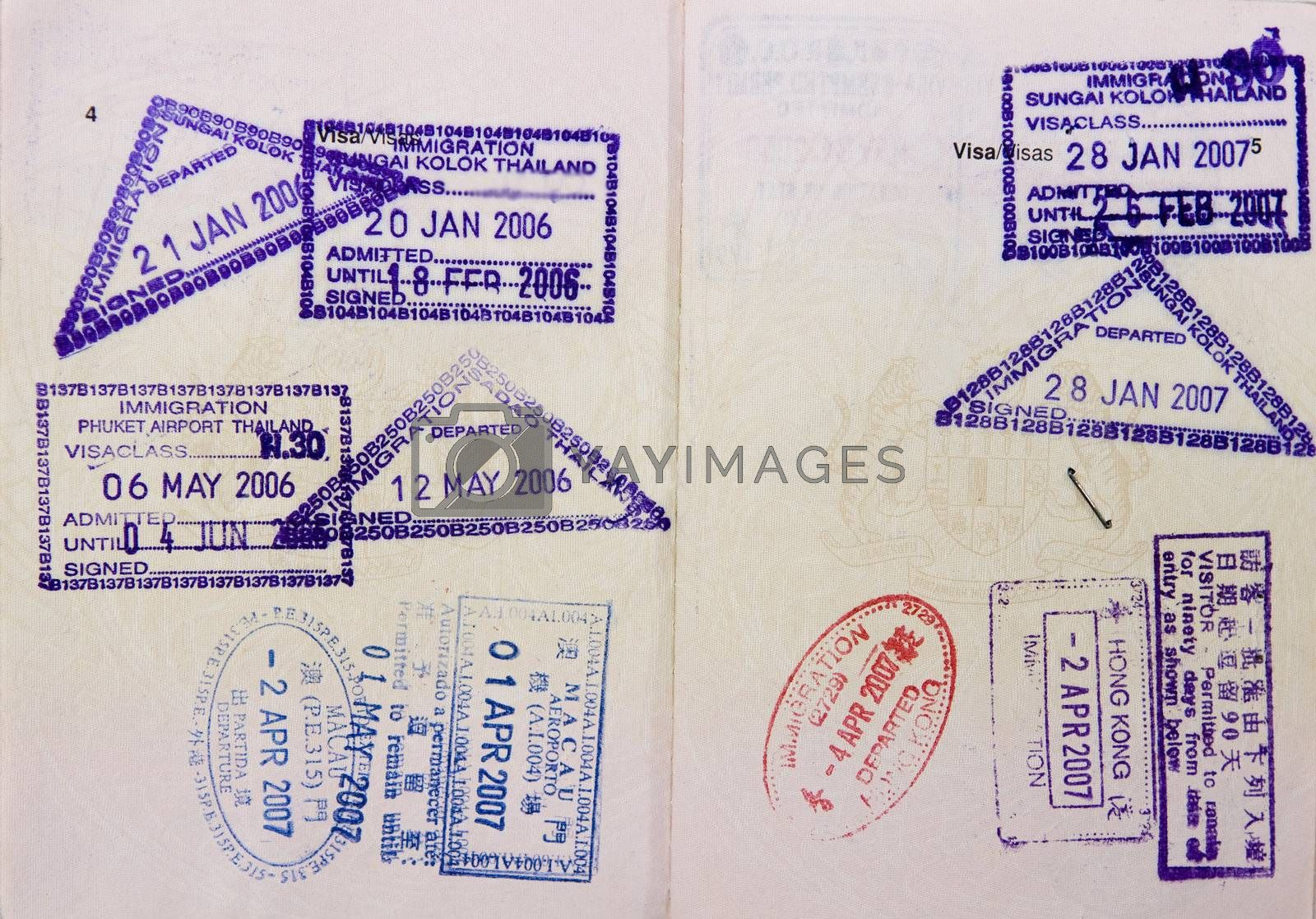 Malaysia passport travel to Asia with stamps.