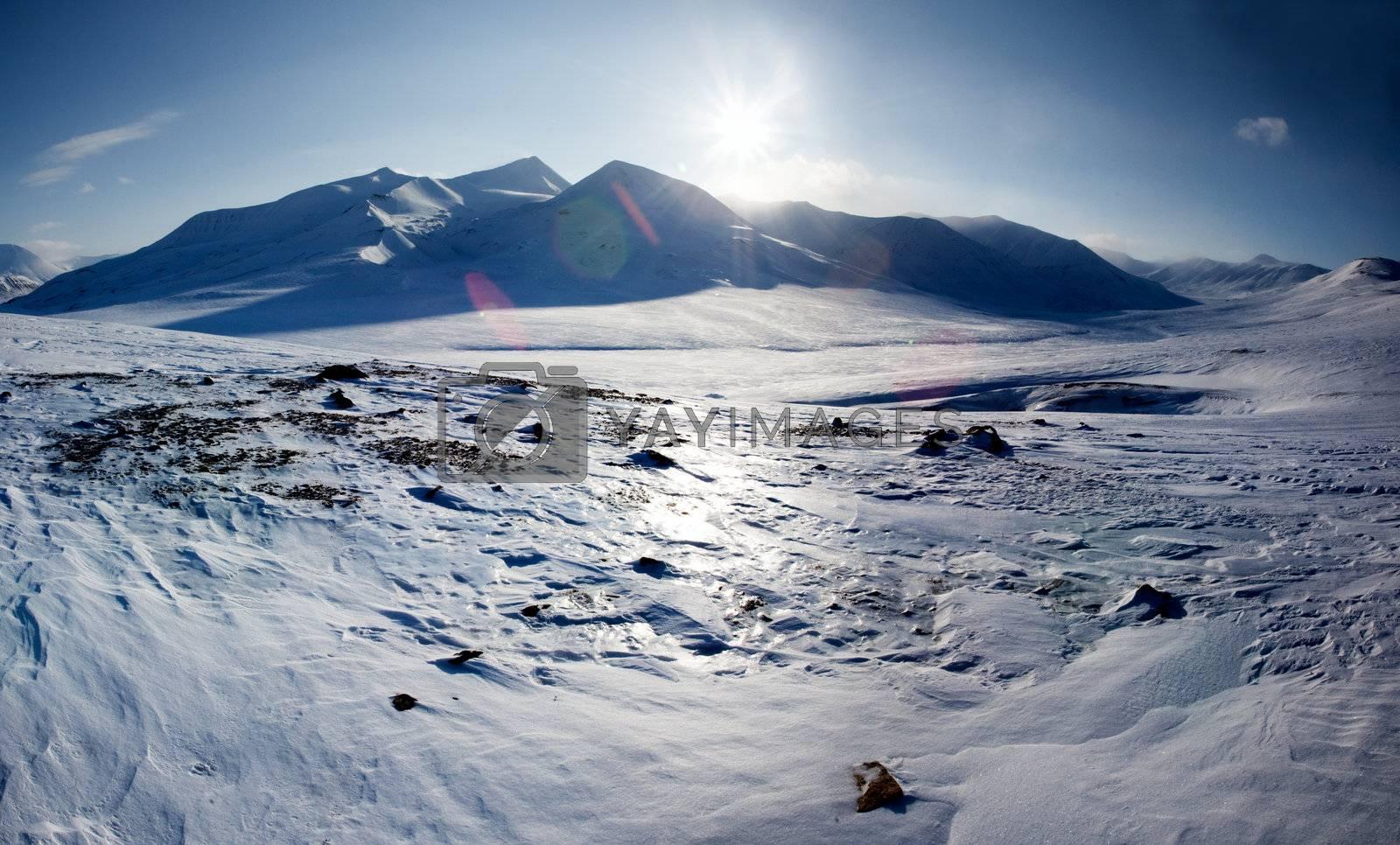 A mountain landscape on the Island of Spitsbergen, Svalbard, Norway
