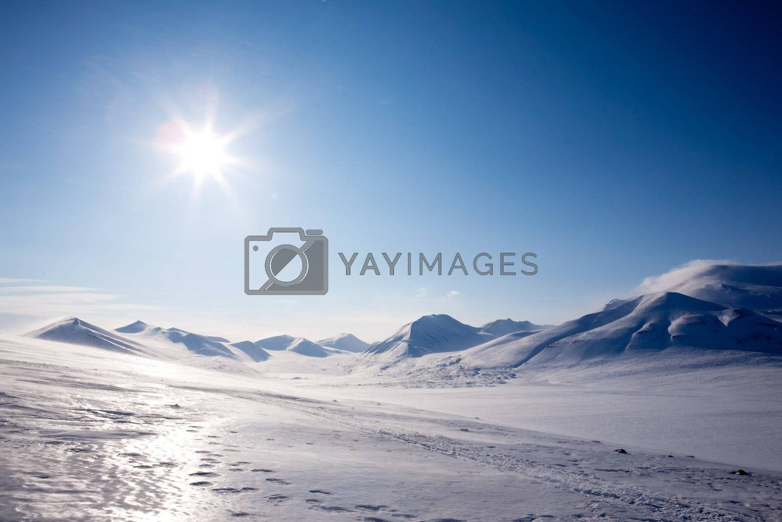 A winter landscape on Spitsbergen Island, Svalbard, Norway