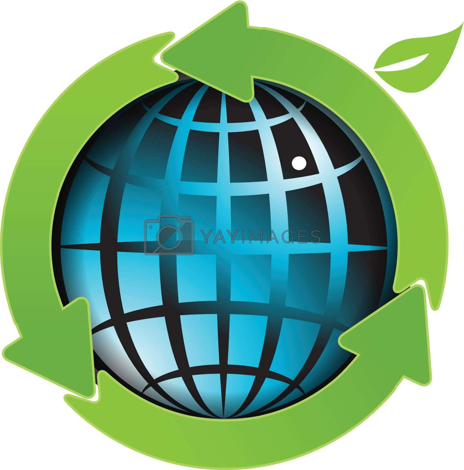 illustration, abstract blue globe with green arrows