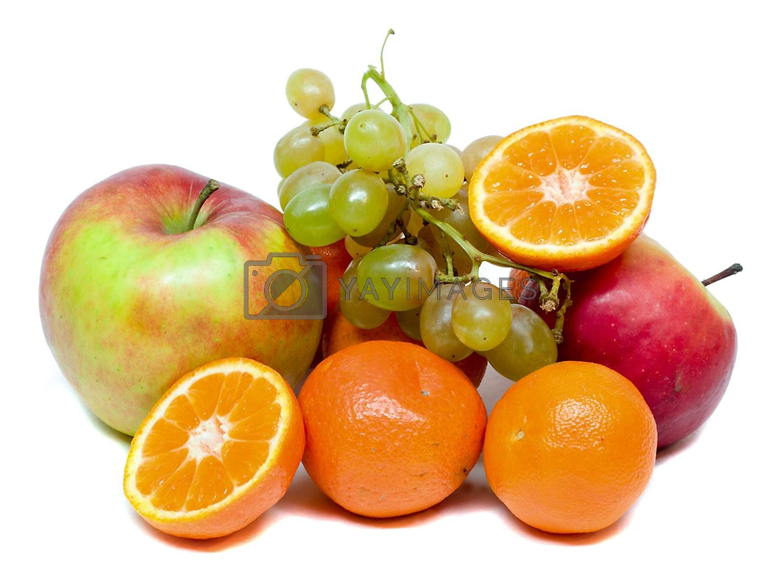 close-up many fruits, isolated on white