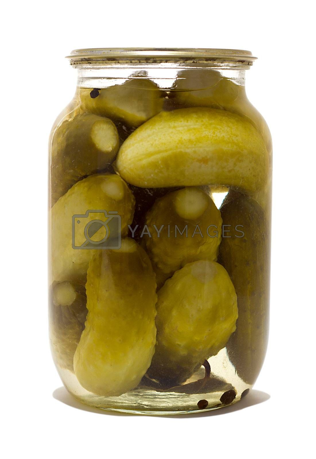 glass jar with preserved cucumbers, isolated on white
