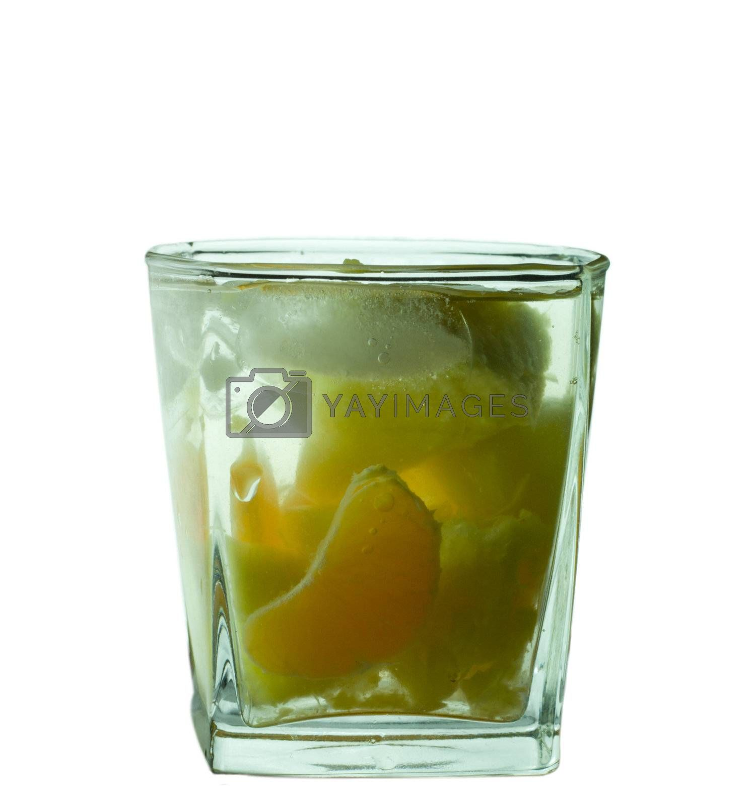 close-up glass with fruits cocktail, isolated on white