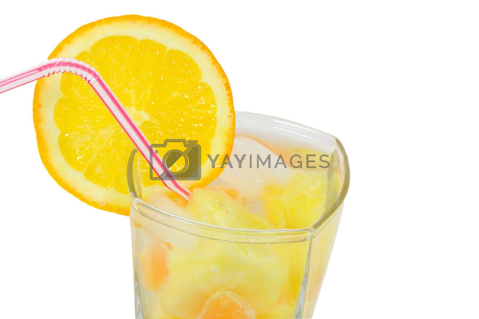 close-up glass with straw and fruits cocktail, isolated on white