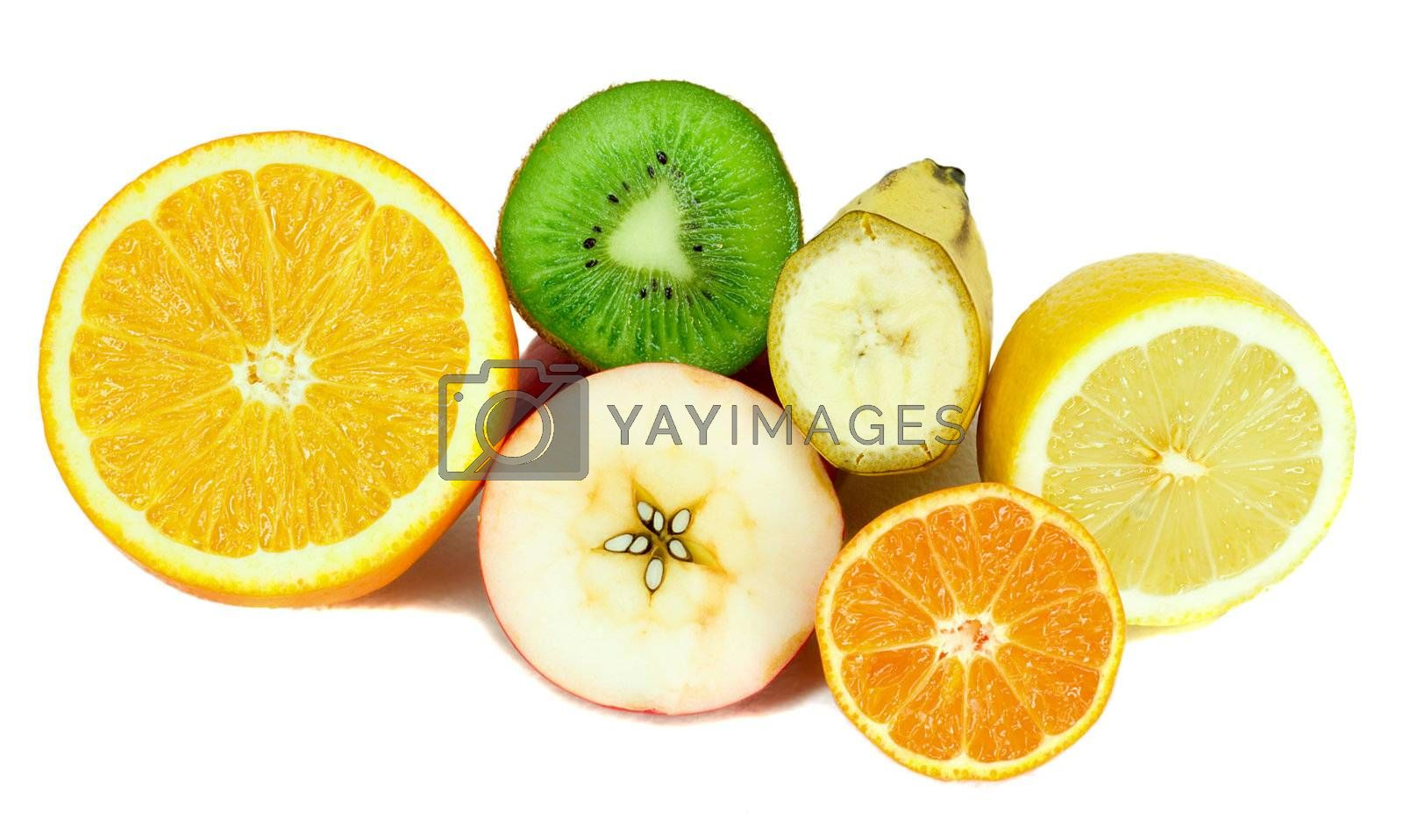 close-up many half part fruits, isolated on white