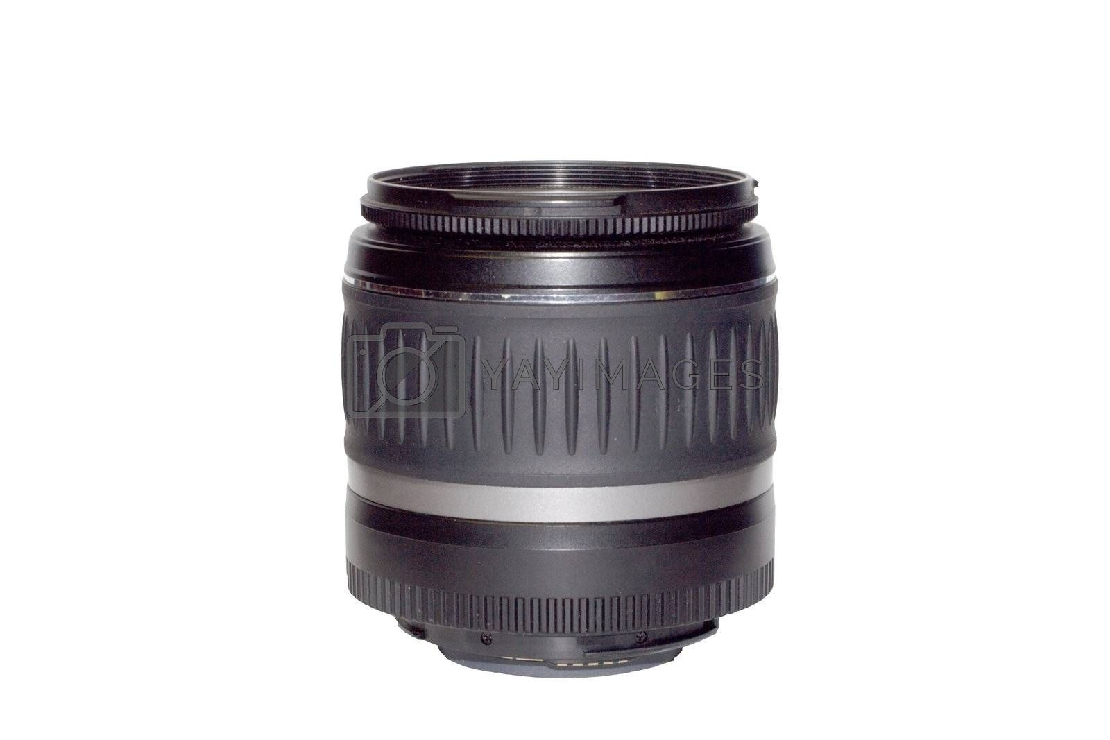 black zoom lens for camera isolated on white