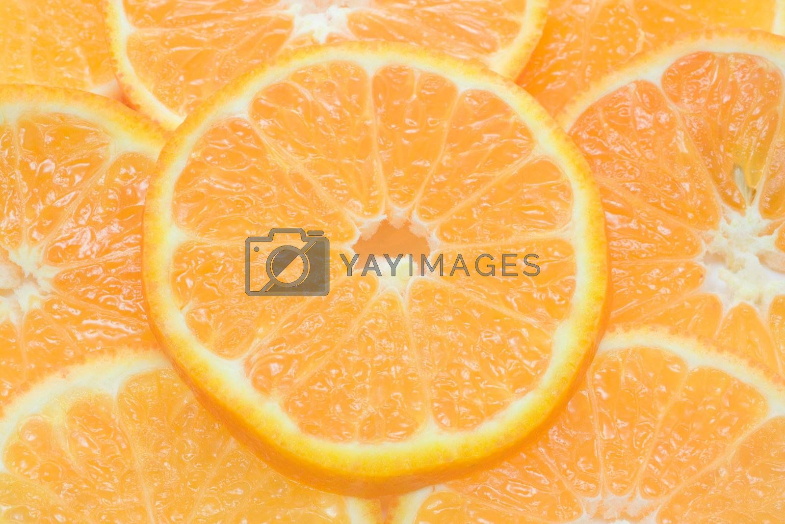 Juicy orange slices as background