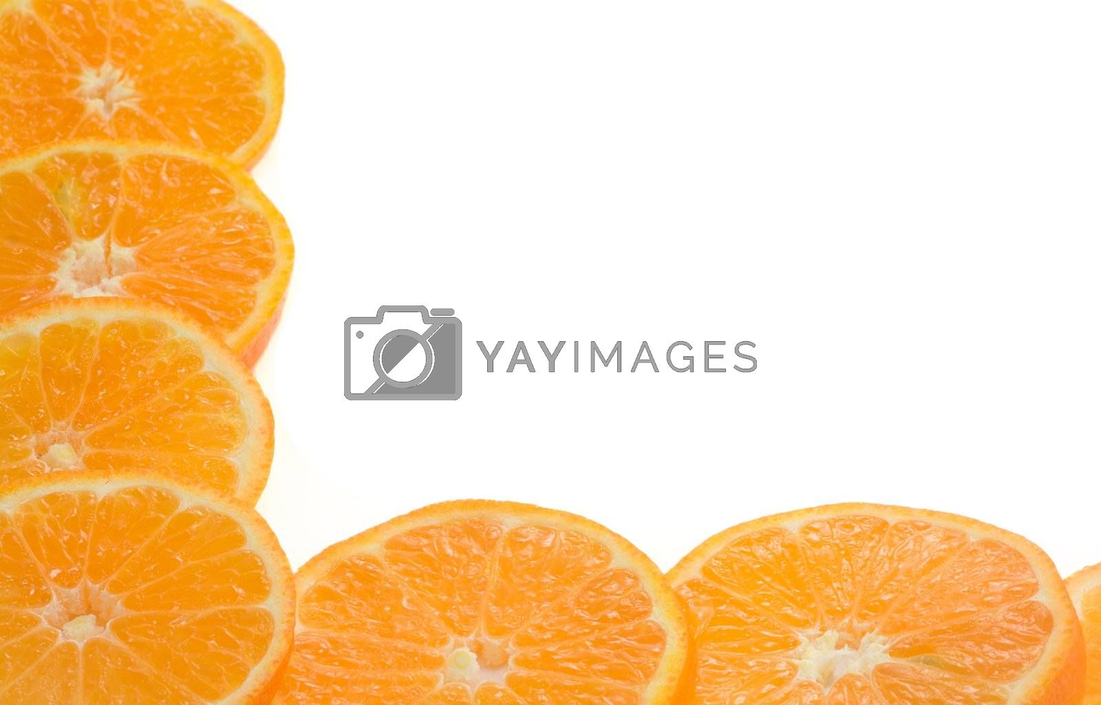 frame from orange slices, isolated on white