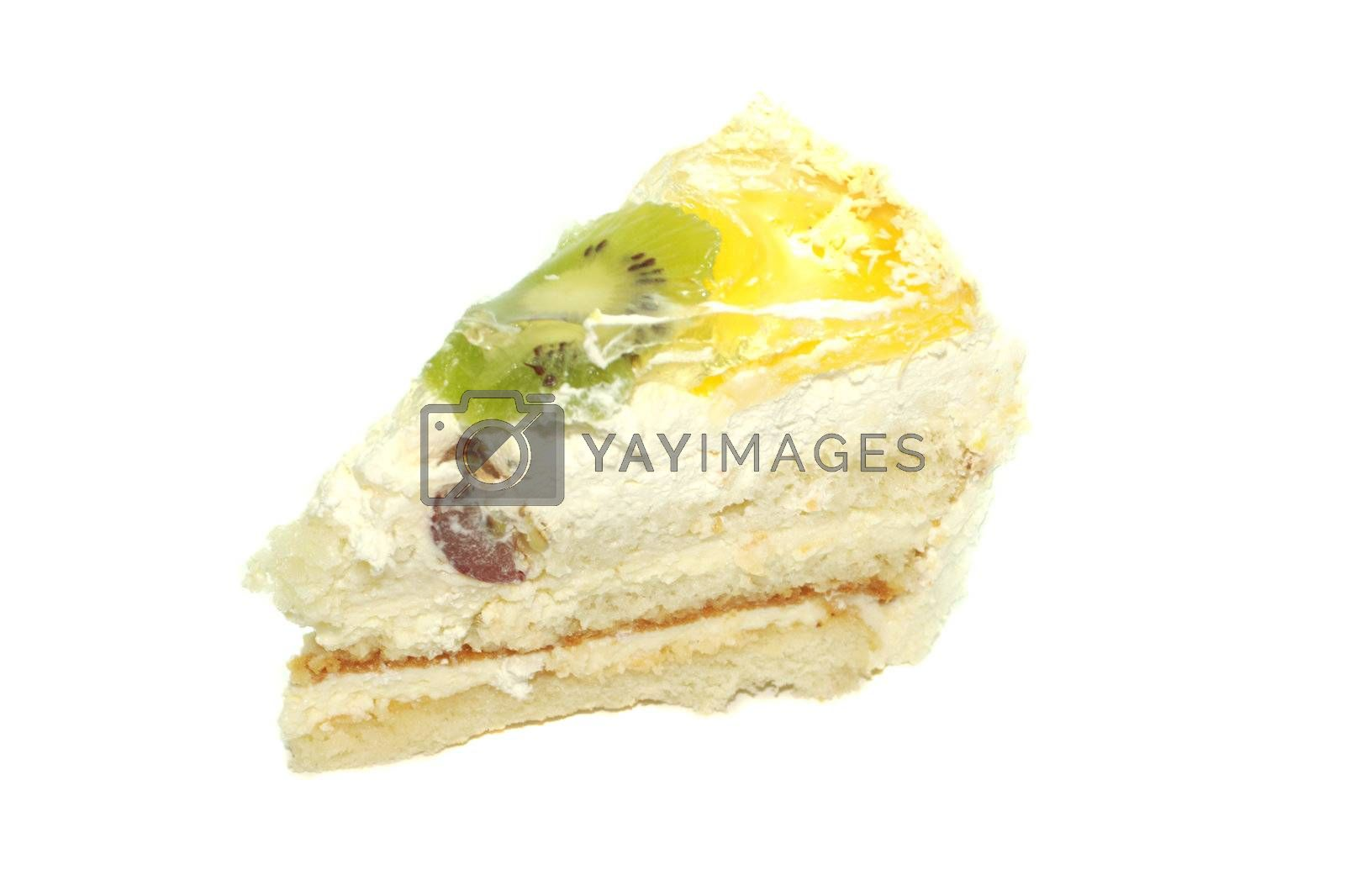 piese of fruit cake with kiwi, orange, grapes, isolated on white
