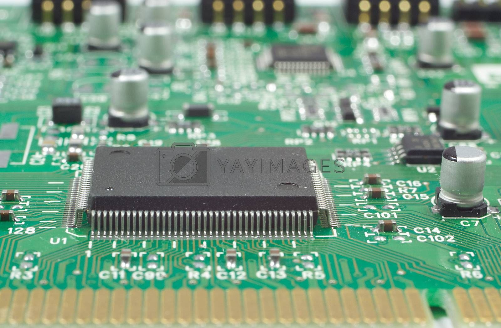 close-up processor on circuit board, shallow dof