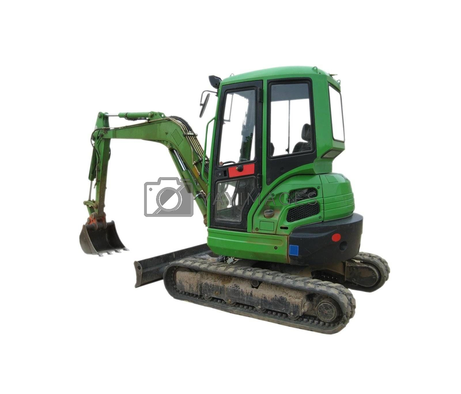 image showing a green excavator with a white background