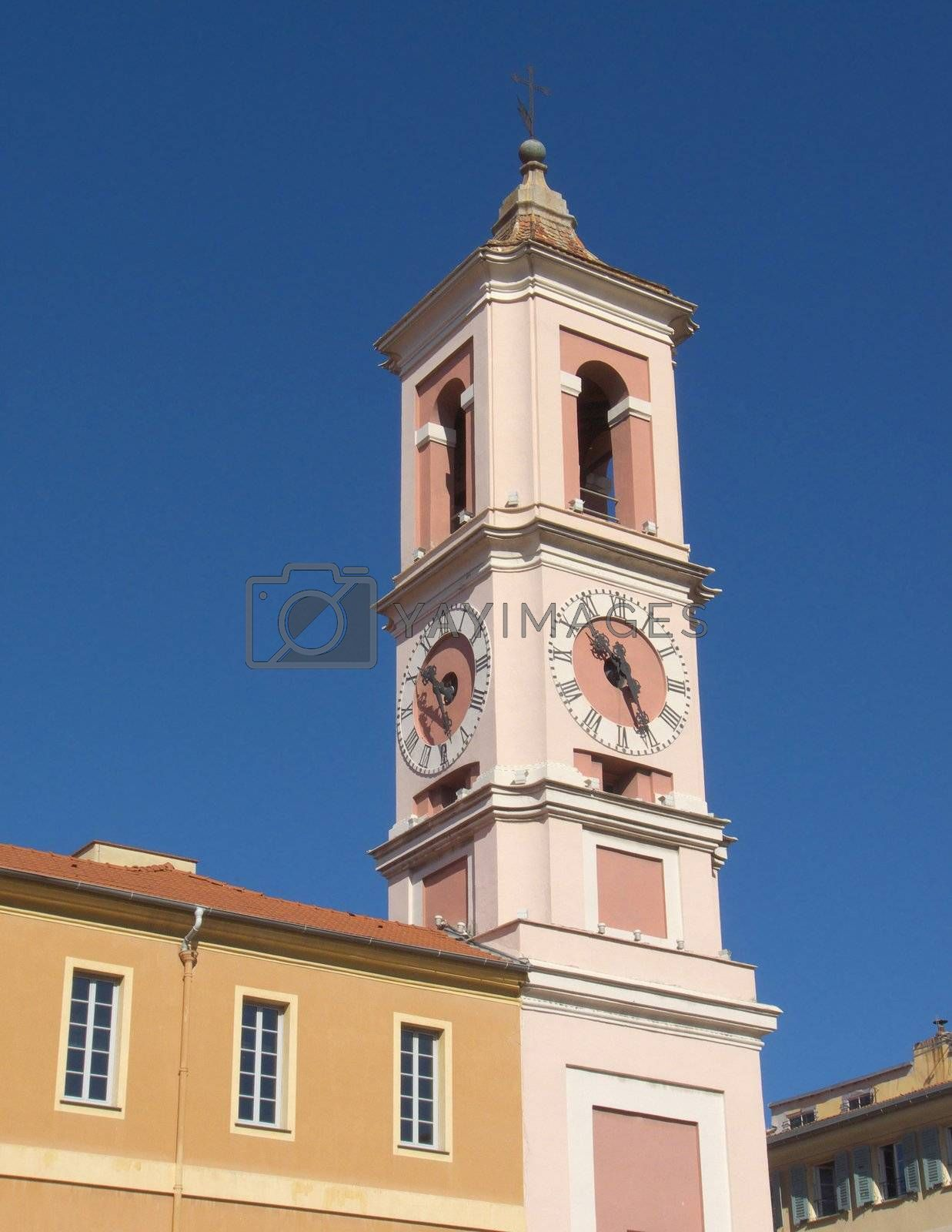 Clock Tower of the Rusca Palace in Nice city