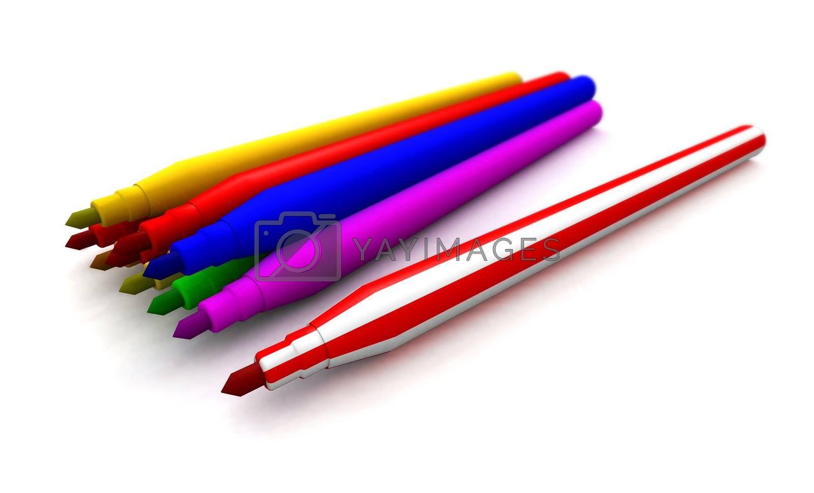 a 3d rendering of some felt tip pens