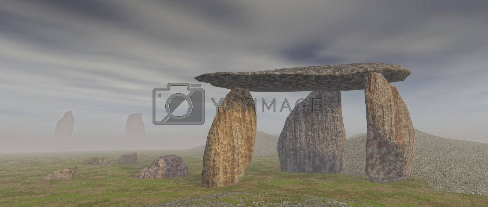 3D render of a dolmen landscape under a gray sky