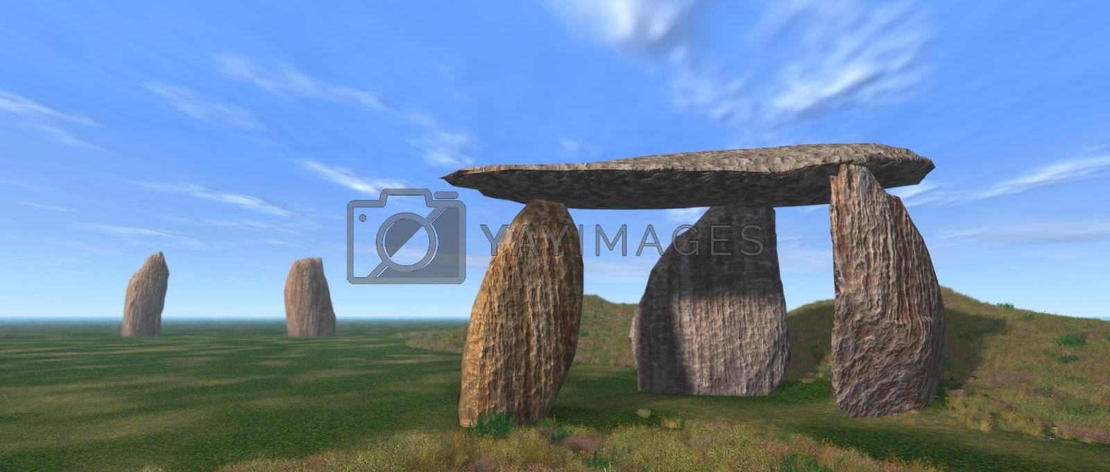 3D render of a dolmen landscape under a blue sky
