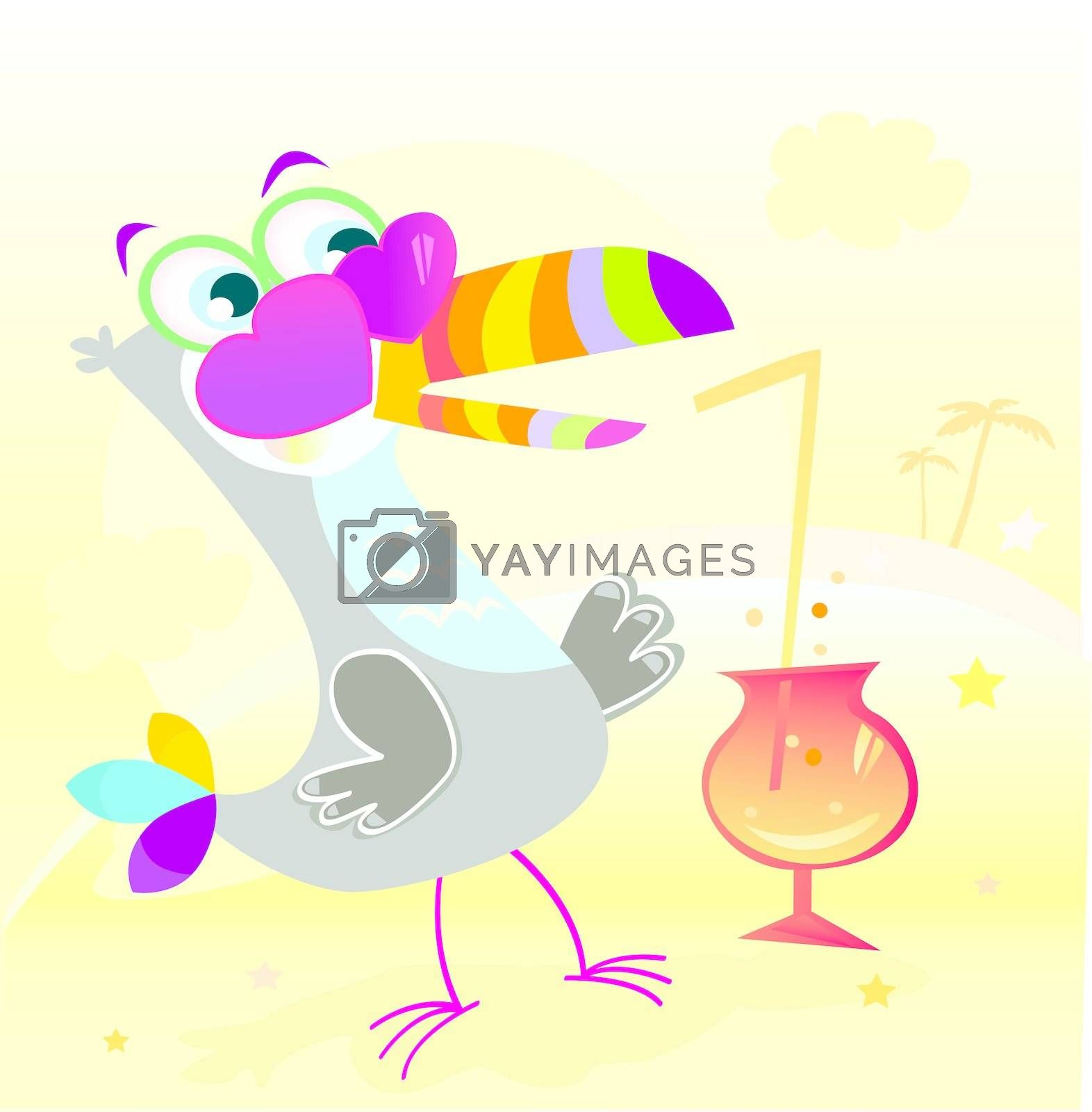 Fun begin. Exotic bird character on beach party! Vector Illustration.