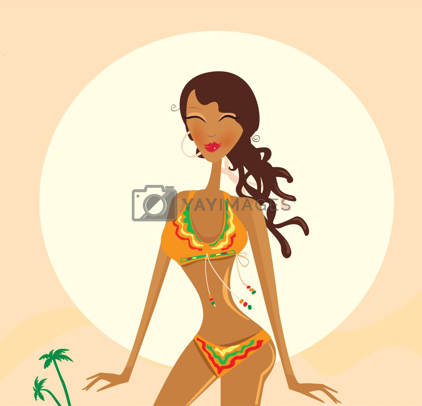 Young exotic girl in raggae style on beach. Vector Illustration.