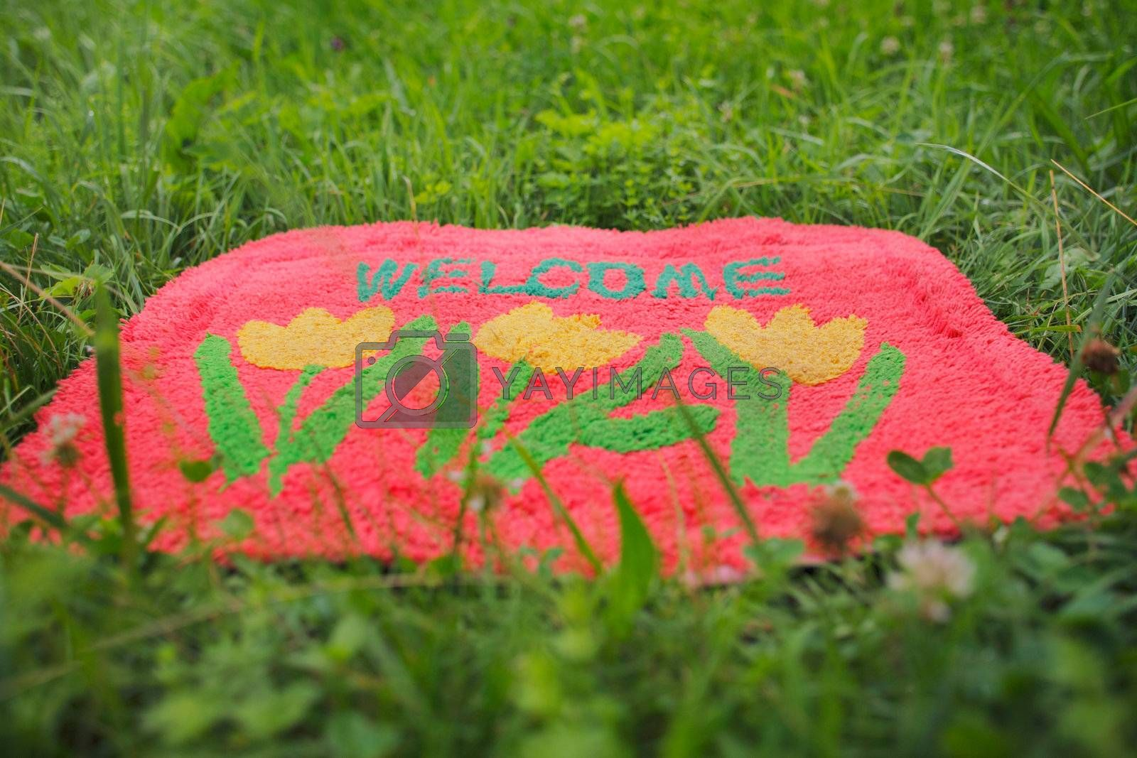 Photo of a welcome mat in front of a green meadow