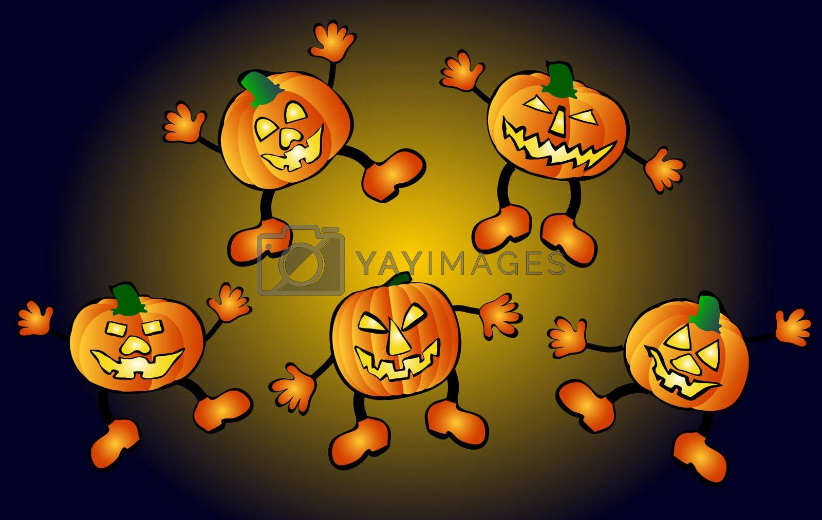 happy, jumping pumpkins by peromarketing